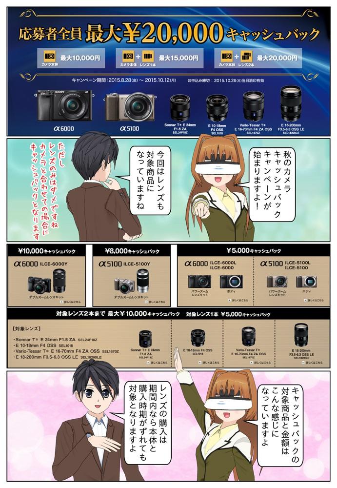 """ソニー デジタル一眼カメラ""""α"""" ILCE-6000、ILCE-5100 で、最大2万円のキャッシュバックのキャンペーンが開始されました。今回はαレンズも対象となっています。"""